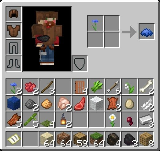 How To Make A Blue Dye In Minecraft Using 2X2 Grid