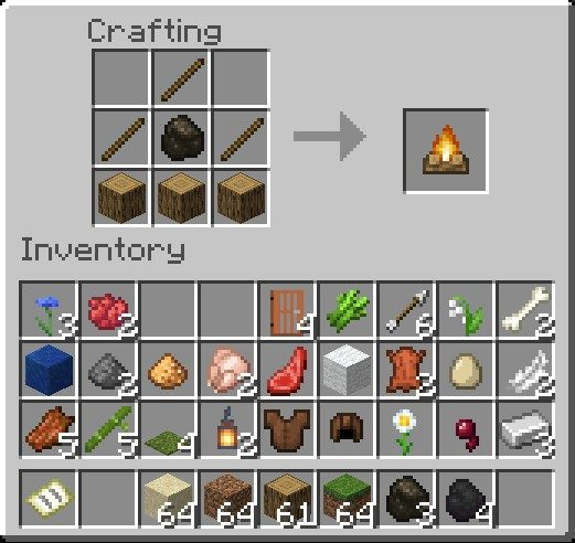 How To Make A Campfire In Minecraft Using Charcoal