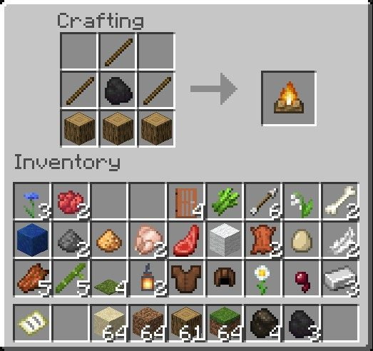 How To Make A Campfire In Minecraft Using Coal