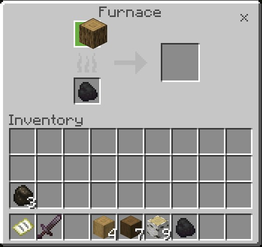 How To Make Charcoal In Minecraft Put A Wood Log In Furnace