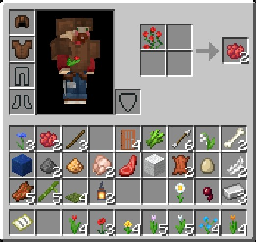 How To Make A Red Dye In Minecraft Using 2X2 Grid And A Rose Bush