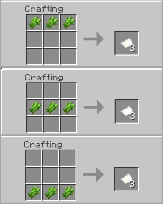 Placing Sugar Cane In The Crafting Table